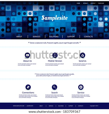 Website Template with Blue Abstract Header Design - stock vector