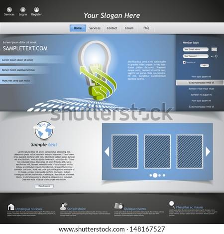 Website template with eco bulb illustration - stock vector