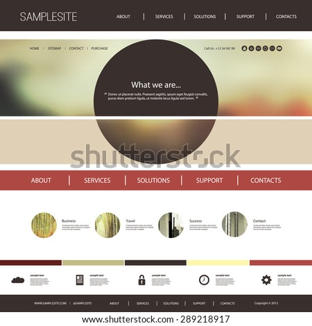 Website Template with Interesting Header Design Concept - stock vector