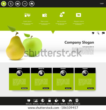 website template with photorealistic fruit vector,  - stock vector