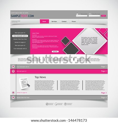 Website template with submenu - stock vector