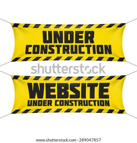 Website under construction banner. Vector. - stock vector