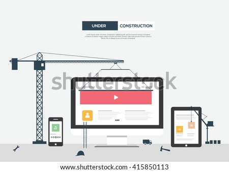 Website Under Construction Flat Vector Template  - stock vector