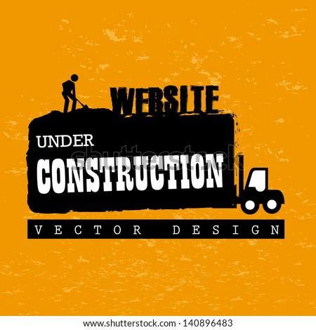 website under construction over orange background vector illustration - stock vector