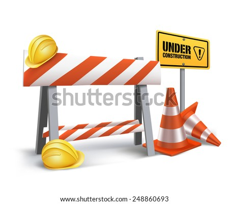 Website Under Construction Sign in White Background. 3D Mesh Vector illustration - stock vector