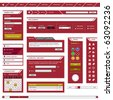 Website Web Design Element Template Frame Red - stock vector