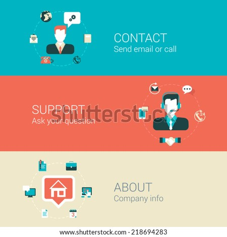 Website webpage category concept flat icons set of contact email call support about company people man helpdesk and vector web illustration web site click infographics elements collection - stock vector