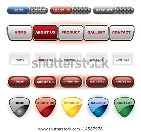 Website white button bars set template - stock vector