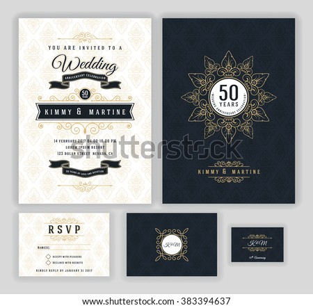 Wedding anniversary celebration party invitation design template. Luxury frame elements and background. Vector illustration - stock vector