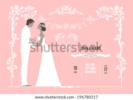 Wedding background with the bride and groom. Invitation card with place for text. - stock vector