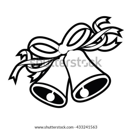 wedding black bells - stock vector