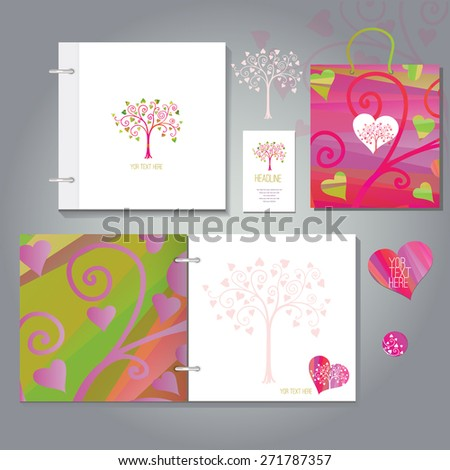 wedding book and invitation set   or for any occasion, includes a cover, business card and a bag, eps 10 - stock vector