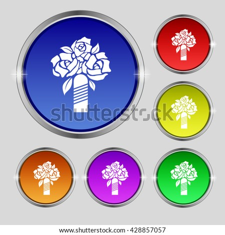 wedding bouquet icon sign. Round symbol on bright colourful buttons. Vector illustration - stock vector