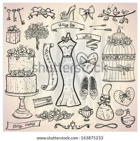 Wedding bridal graphic set with cake, dress, accessories, hearts and ribbons. Eps10. - stock vector