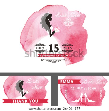 Wedding  Bridal shower invitation template set with watercolor pink stain.Flat bride silhouette with dress,veil,flowers, hand writing text,swirling borders.Save date, thank you card Vector - stock vector