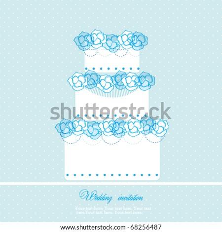 Wedding cake card - stock vector