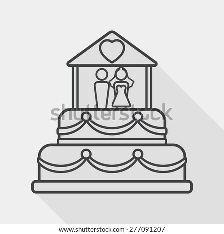 wedding cake flat icon with long shadow, line icon - stock vector