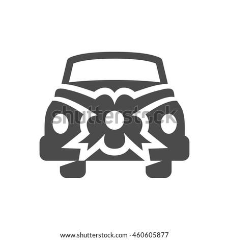Wedding car icons in single color. - stock vector