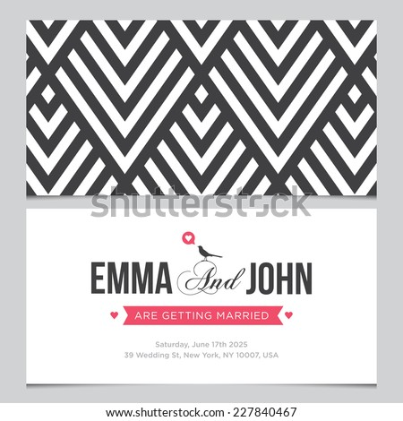 Wedding card back and front with pattern background 01 - stock vector