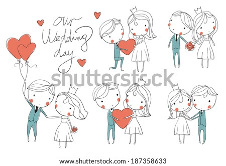 Wedding card. Bride and groom  - stock vector