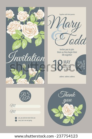 Wedding card collection. Vector graphics depicting vintage Victorian roses. Invitation, thank you, rsvp. - stock vector