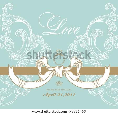 wedding card design - stock vector