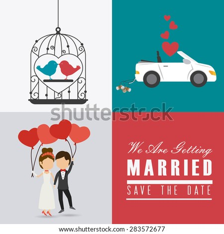 Wedding card design over colorful background, vector illustration. - stock vector