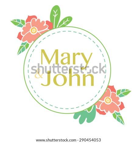 Wedding card design with  hand drawn flowers.  Wedding invitation design - stock vector