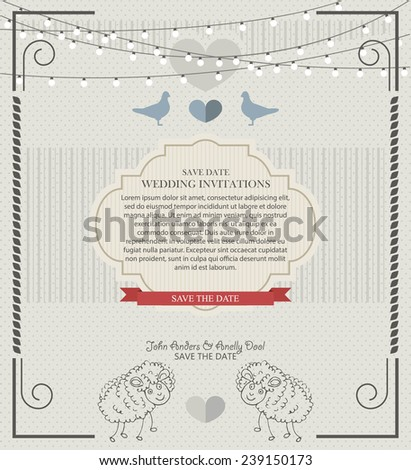 Wedding card flat. Wedding Card Invitation in Vector - stock vector