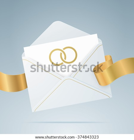 Wedding card. Greeting card in the envelope, with golden ribbon and wedding rings. Realistic vector illustration. - stock vector
