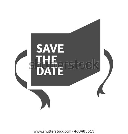 Wedding card icons in single color. Save the date - stock vector