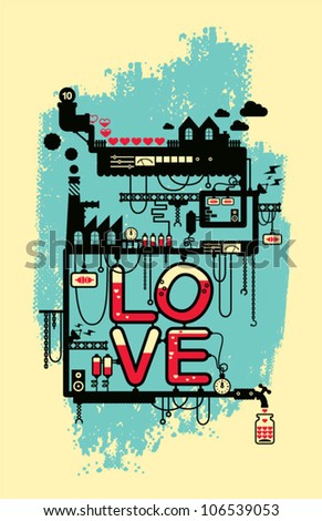 Wedding card/ love factory/ valentine's day card poster deign - stock vector