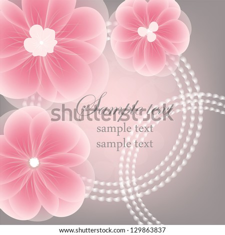 Wedding card or invitation with abstract floral background. Elegance pattern with flowers. Abstract greeting card Greeting card in grunge or retro style. - stock vector