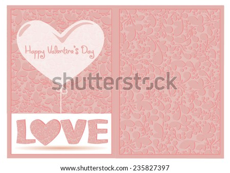 Wedding card or invitation with abstract floral background. Elegance pattern with flowers. Abstract greeting card. Greeting card with heart shape. Happy Valentine's day - stock vector