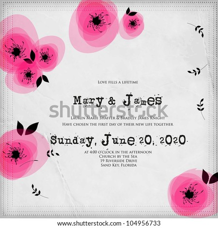 Wedding card or invitation with abstract floral background. Greeting card in grunge or retro style. Elegance pattern with flowers roses, floral illustration in vintage style Valentine Classic romantic - stock vector