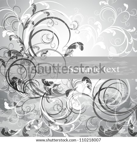 Wedding card or invitation with abstract floral background. Greeting card in grunge or retro style. Design valentine card. - stock vector