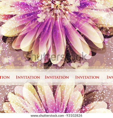 Wedding card or invitation with abstract floral background. Greeting card in grunge or retro style. Elegance Seamless pattern with flowers roses, floral illustration in vintage style Valentine. - stock vector