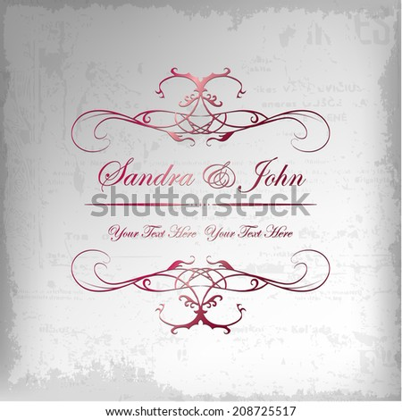 Wedding card or invitation with abstract floral background. Greeting postcard in grunge or retro vector Elegance pattern with flowers roses floral illustration vintage style - stock vector