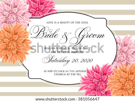 Wedding card or invitation with chrysanthemum flowers on striped background  - stock vector