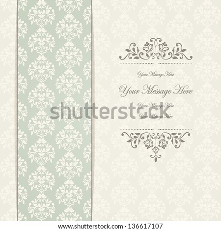 Wedding card or invitation with damask background. eps10 - stock vector