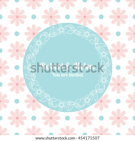 Wedding card template with floral frame. Vector illustration - stock vector