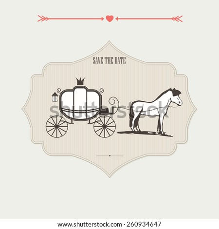 Wedding card with a horse and carriage. Wedding vector set with graphic elements. Wedding carriage and doves. Wedding carriage card. Wedding carriage marriage transport. Wedding carriage invitation. - stock vector
