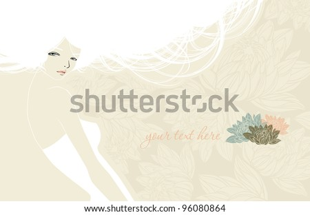 wedding card with beautiful girl - stock vector