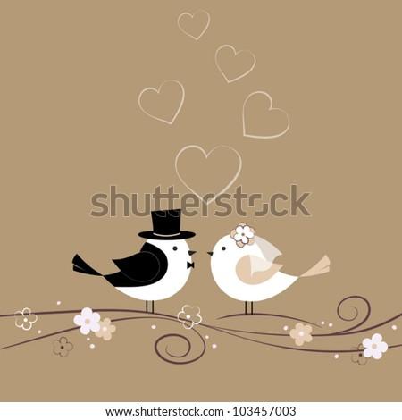 Wedding card with birds - stock vector