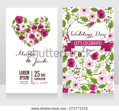 wedding cards with heart formed flowers, boho style, vector illustration - stock vector