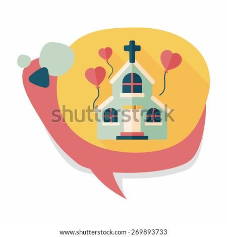 wedding church flat icon with long shadow,eps10 - stock vector