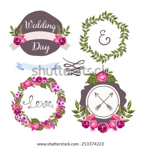 Wedding collection with hand-drawn flowers and plants for your design - stock vector