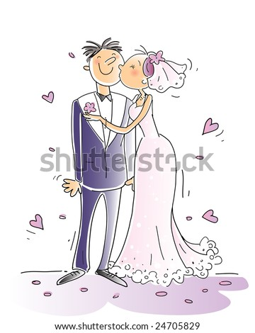 wedding congratulations card vector illustration, happy couple kissing, cartoon characters - stock vector