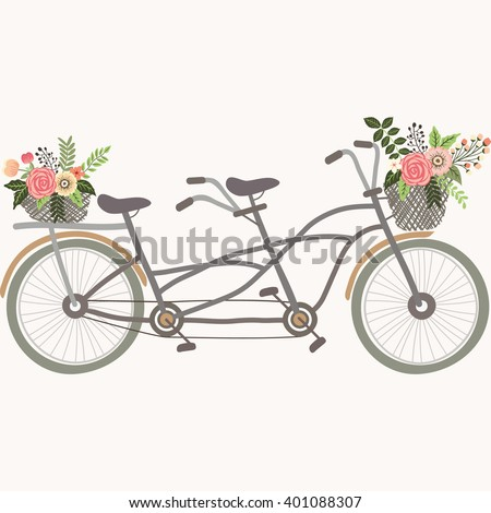 Wedding Couple Bicycle with Flowers - stock vector
