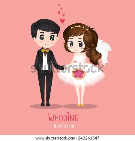 Wedding Couple Card vector - stock vector